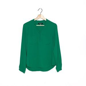 NINE WEST emerald green popover blouse small